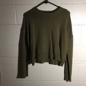 Cropped Olive Green Sweater